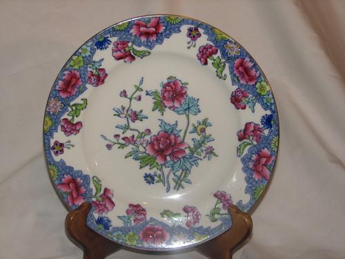 "Spode RARE 1900's Regal Copeland 7.75"" Salad Plate Creamware Blue Pink Flowers"