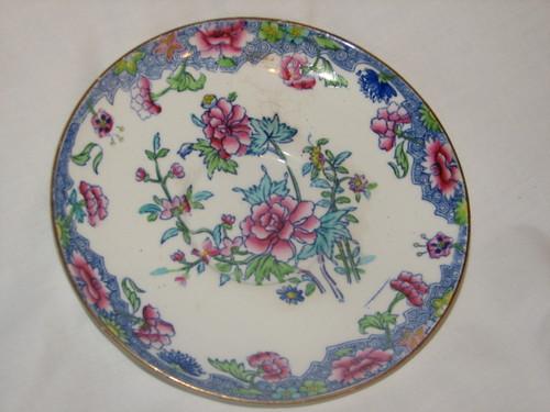 "Spode RARE 1900's Regal Copeland 6.5"" Bread & Butter Plate Creamware Blue Pink Flowers"
