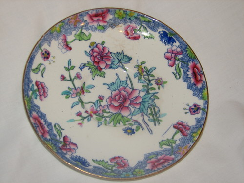 "Spode RARE 1900's Regal Copeland 5.5"" Small Bread & Butter Plate Creamware Blue Pink Flowers"