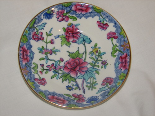 "Spode RARE 1900's Regal Copeland 4.75"" Fruit Bowl Creamware Blue Pink Flowers"
