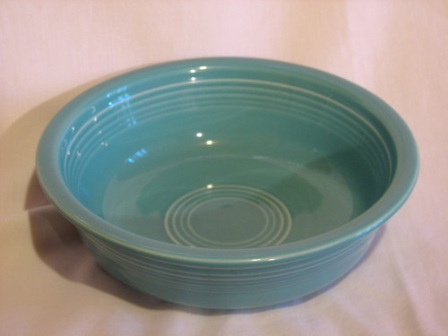 "Fiestaware Cereal Bowl by Homer Laughlin  6 7/8"" Diameter, Turquoise, Vintage"