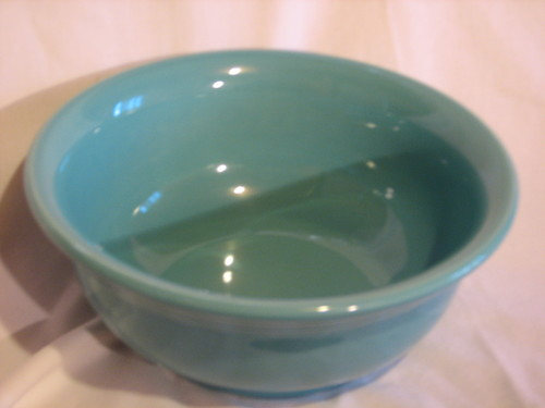 "Fiestaware by Homer Laughlin Serving Bowl by Homer Laughlin 8 7/8"" Diameter, Turquoise, Vintage"