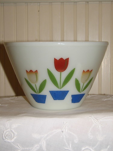 Fire King Mixing Bowl, Tulip Design