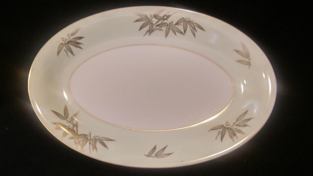 "Noritake China 12"" Oval Serving Platter, Pattern #5271, Gold Bamboo Leaves"