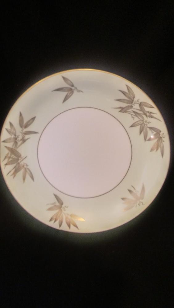 "Noritake China 10.5"" Dinner Plate, Pattern #5271, Gold Bamboo Leaves"