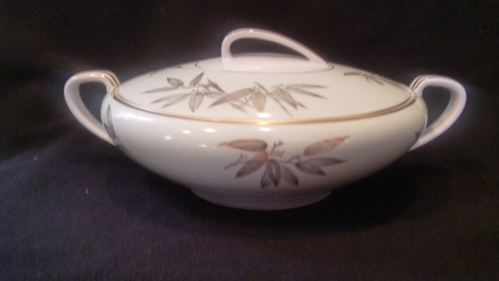 """Noritake China 9 1/4"""" Covered Vegetable Bowl, Pattern #5271, Gold Bamboo Leaves"""