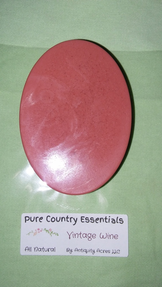 Pure Country Essentials Soap, Castile All Natural Glycerin, Vintage Wine Fragrance, Oval