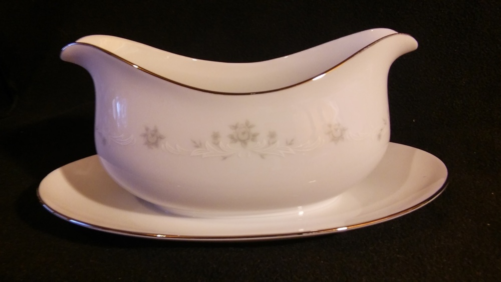 Sango China, Gravy Boat with Attached Underplate, Julie Pattern #6184