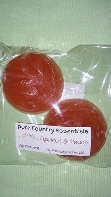 Pure Country Essentials Soap, Carrot Cucumber & Aloe Vera, Apricot & Peach Fragrance, Guest Round (2 Pack)