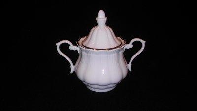 Walbrzych Empire Sugar Bowl with Lid, Ribbed Pattern W/Gold Trim
