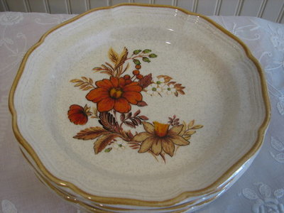 "Mikasa Dinner Plates, Garden Club, Harvest Bouquet # EC 455, 10.75"" DIA"