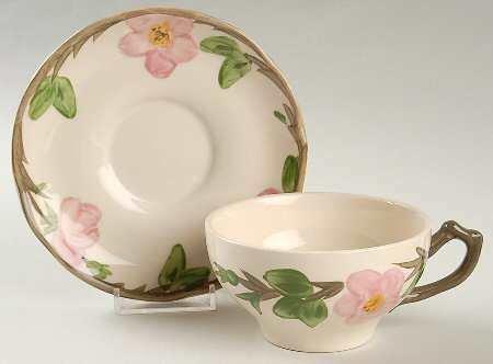 """Franciscan Flat Cup & Saucer 2.25"""", Desert Rose"""