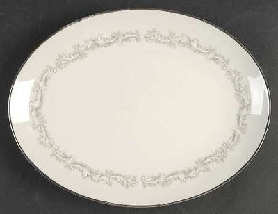 Noritake Ivory China, Oval Serving Platter, Marquis 7540