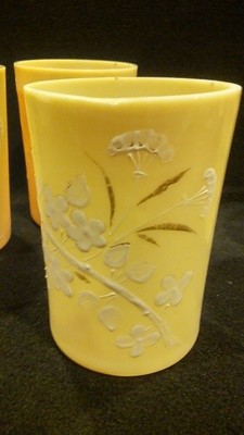 Custard Glass Tumblers, Branch of Cherry Blossom Design, White & Gold. SET OF 4