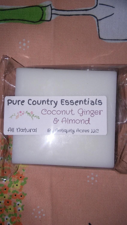 Pure Country Essentials Soap, Aloe Vera Glycerin, Coconut, Ginger & Almond Fragrance, Square