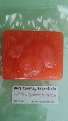 Pure Country Essentials Soap, Carrot Cucumber & Aloe Vera, Apricot & Peach Fragrance, Rectangle Bunny Design