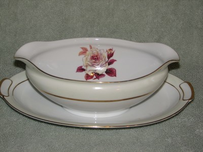 Vintage Mikado  Oval Gravy Boat W/Attached Under Plate, Prima Donna