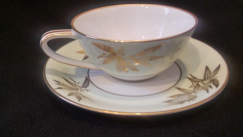 Noritake China Flat Coffee Cup & Saucer, Pattern #5271, Gold Bamboo Leaves