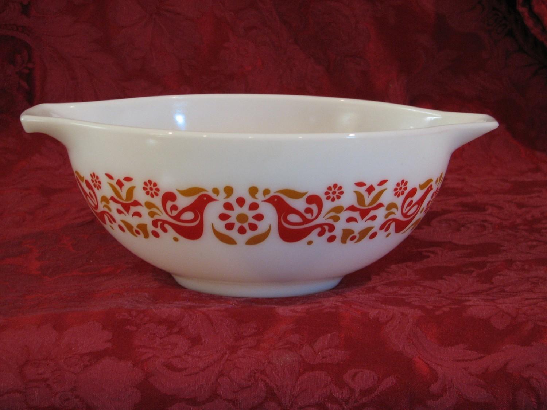 Pyrex 2.5 Qt 443 Red & Orange Friendship Cinderella Tab Mixing Bowl Collectible Kitchenware