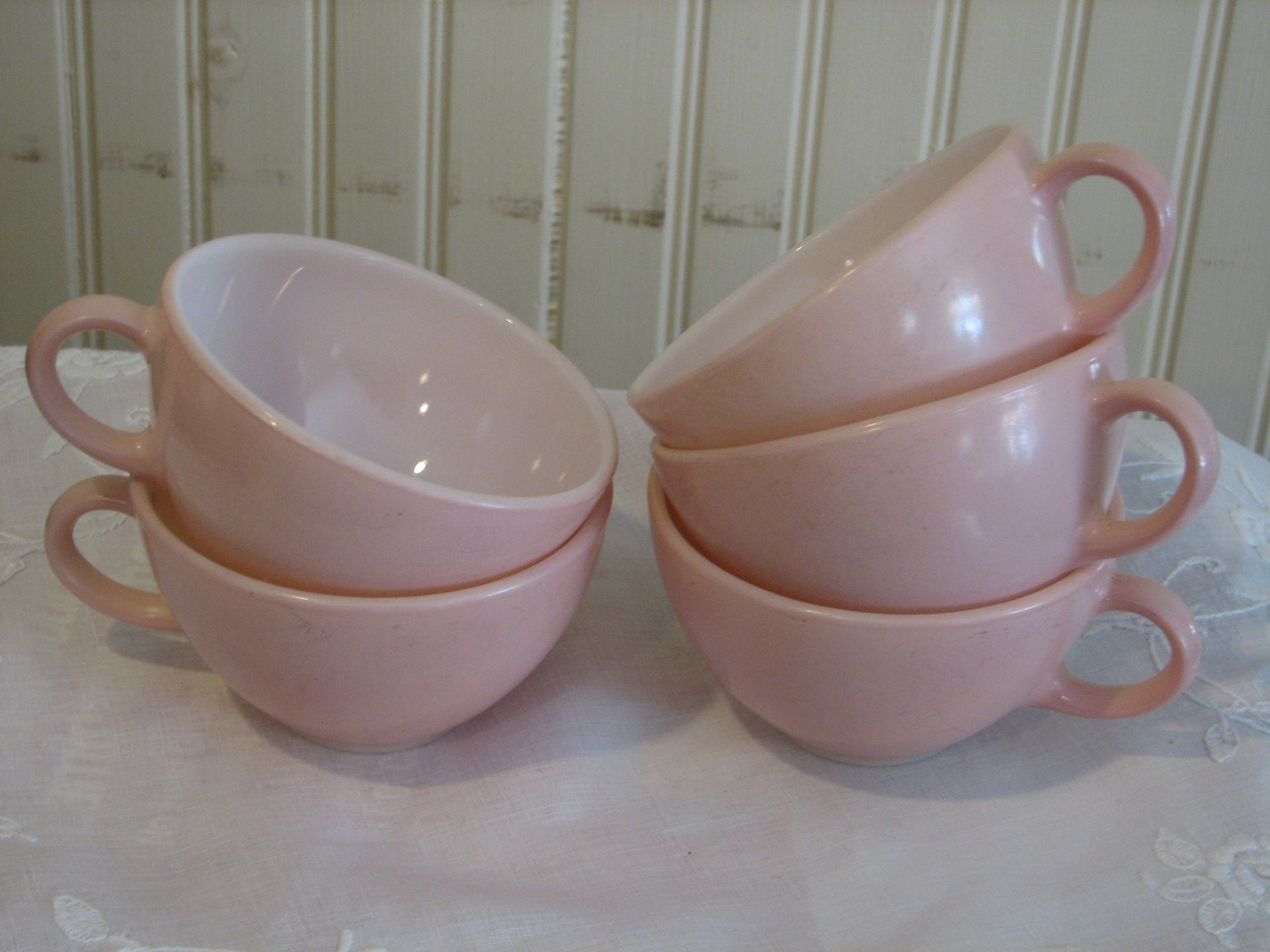 Rare Vintage 5 - Pyrex Family Flair Cups, Quince Pink