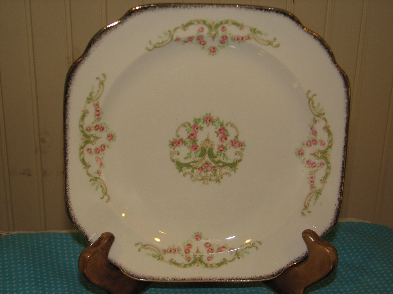 Canonsburg Square Luncheon Plates, Sandra Pattern, 22K Gold Trim