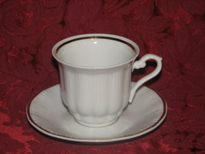 Walbrzych Demitasse Cup & Saucer, Ribbed Pattern, White W/Gold Trim