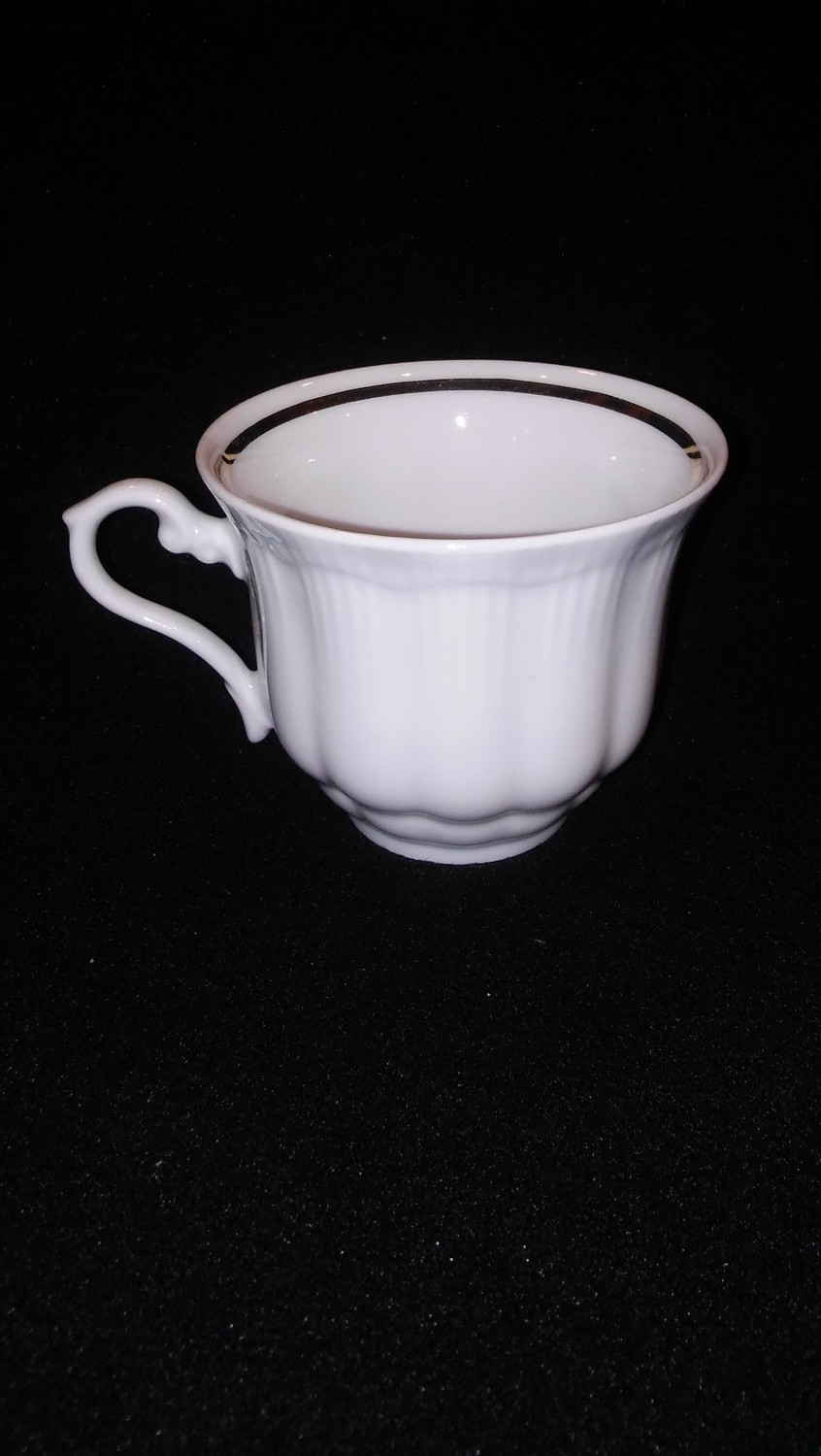 Walbrzych Empire Flat Coffee Cup, Ribbed Pattern W/Gold Trim
