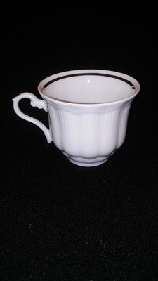Walbrzych Empire Flat Coffee Cup, Ribbed Pattern W/Gold Trim