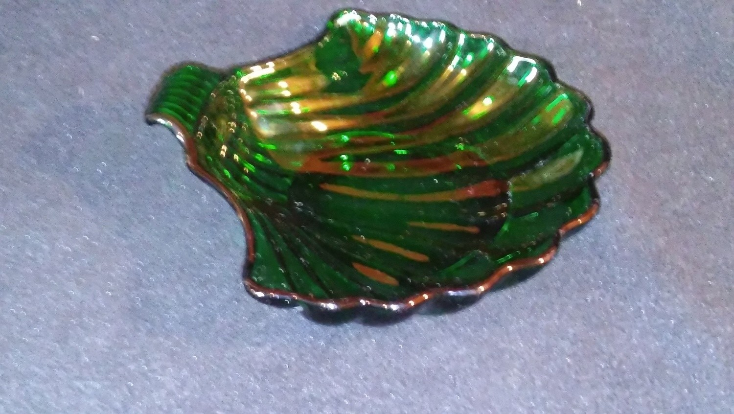 """Fire King by Anchor Hocking, Shell Shaped Dish, Forest Green Depression Glass 7"""""""
