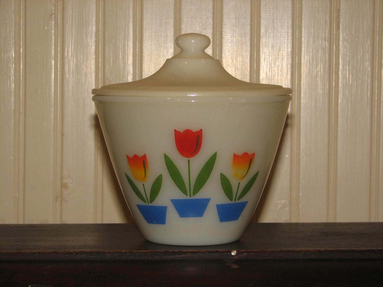 Fire King Grease Jar, Tulip Design