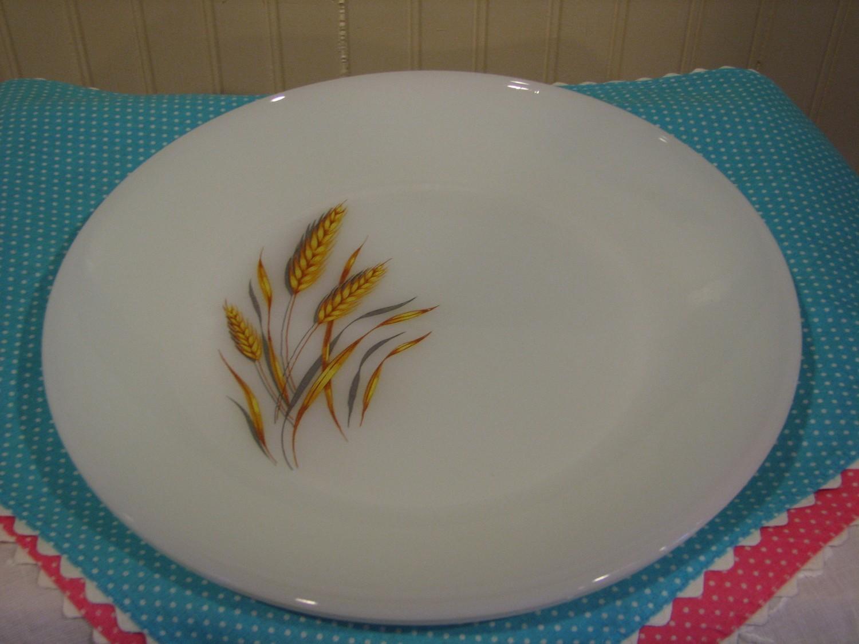 "Vintage Fire King, 2 - Dinner Plates, Wheat Pattern, Milk Glass 10"""