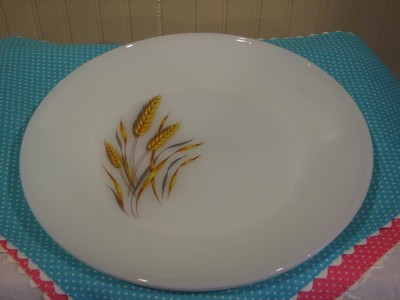 Vintage Fire King, 2 - Dinner Plates, Wheat Pattern, Milk Glass 10""