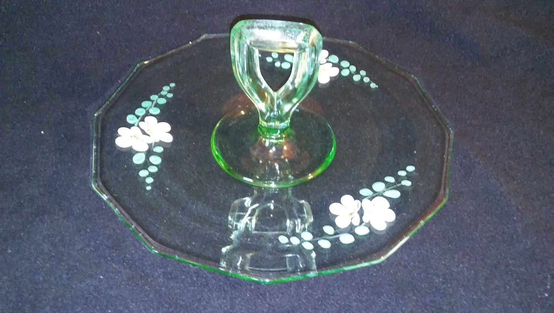 "Vintage RARE Vaseline 10.5"" Green Glass Flower Tidbit Handle Serving Tray"