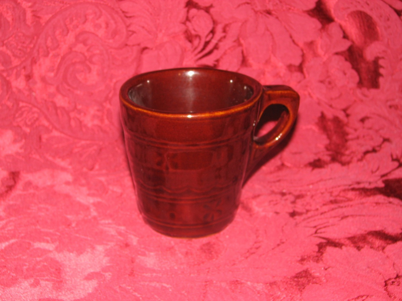 "Vintage Marcrest ""Daisy Dot"" Brown Stoneware Coffee Mug (Flat)"