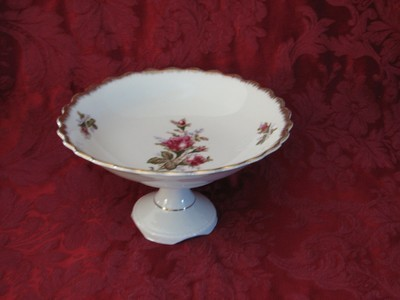 Vintage Compote With Floral Design, Scalloped Edge & Gold Rim