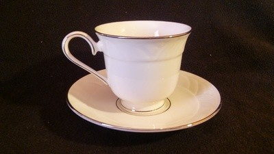 Lenox Footed Cup & Saucer, Sand Dune Platinum Pattern
