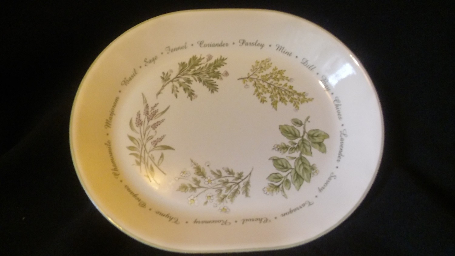 "Corelle Corning Oval Serving Platter 12"", Thymeless Herbs Pattern"