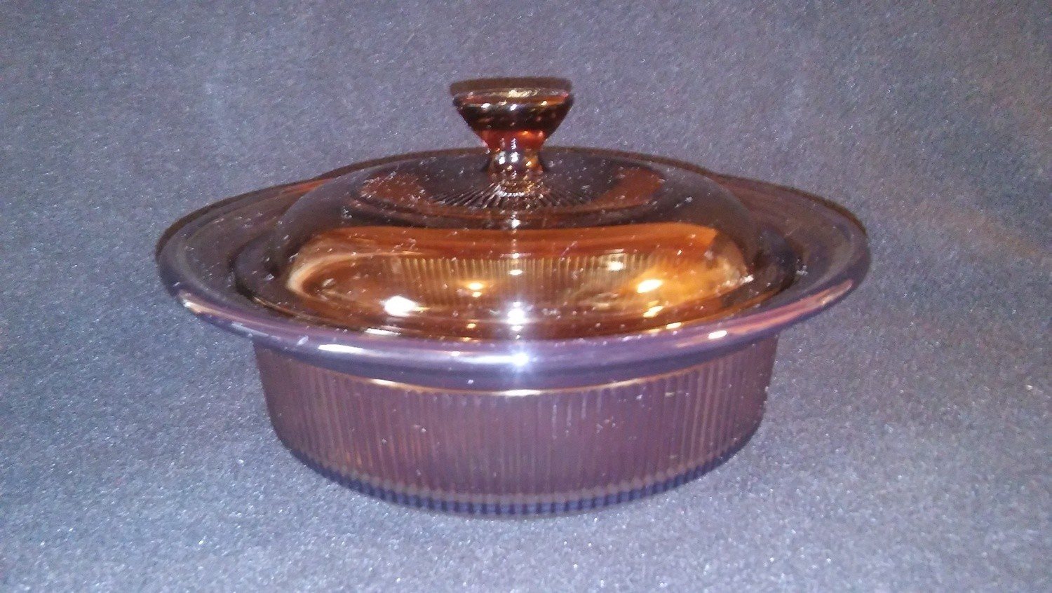 Corning Ware Visions, Microwave Casserole 24 Oz Round with Cover, Amber