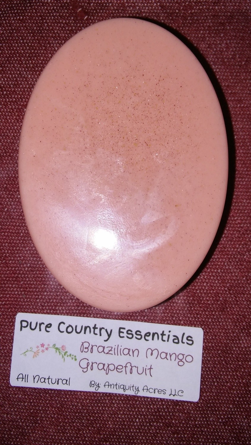Pure Country Essentials Soap, Castile All Natural Glycerin, Brazilian Mango & Grapefruit Fragrance, Oval