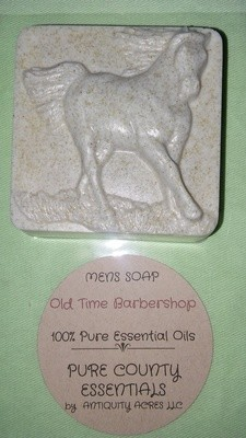 Pure Country Essentials Soap, Men's Soap, Oatmeal, Old Time Barbershop Fragrance,  Square Horse Design