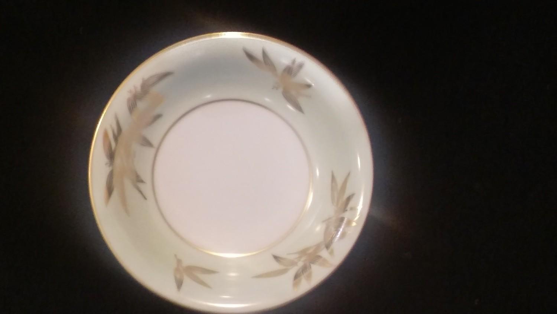 Noritake China Fruit, Dessert, Sauce Bowl, Pattern #5271, Gold Bamboo Leaves