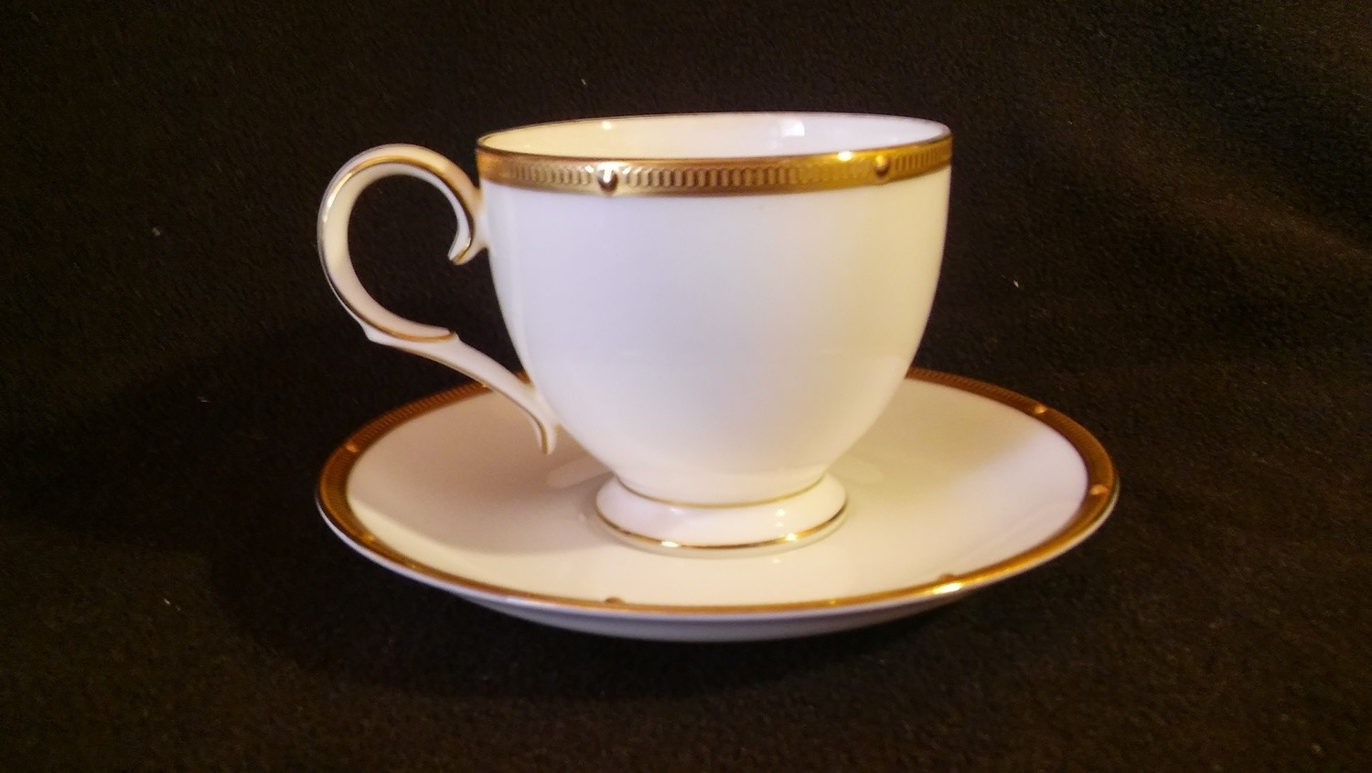 Noritake Bone China, Footed Cup & Saucer, Rochelle Pattern #4796