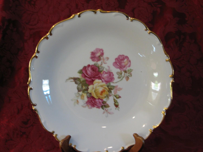 """Schumann Bavaria, 12"""" Chop Plate, SCH108 Rose Pattern W/Gold Trim"""