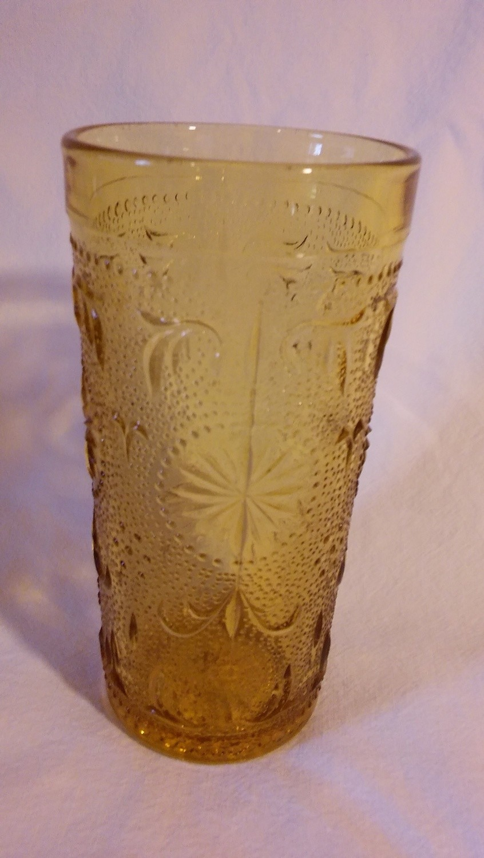 "Sandwich Glass Tumbler, Vintage Tiara Amber, 5 1/2"" Tall"