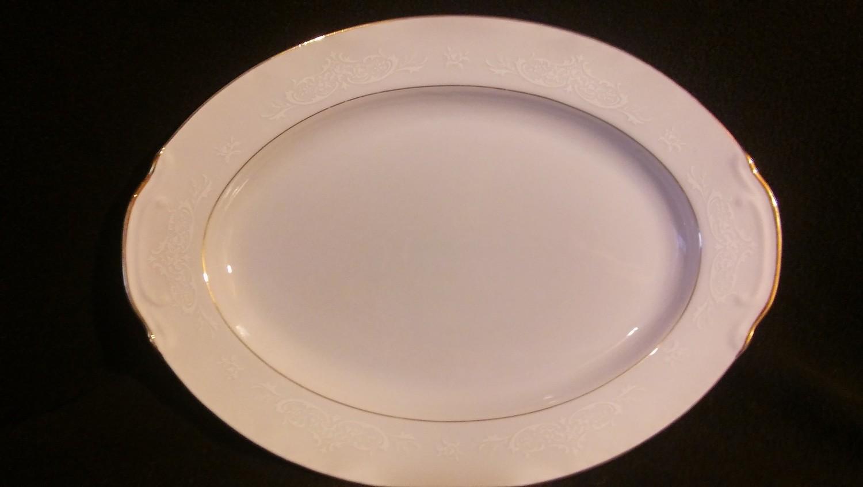 "Style House Fine China, Oval Serving Platter 14 1/2"", Tapestry Pattern"