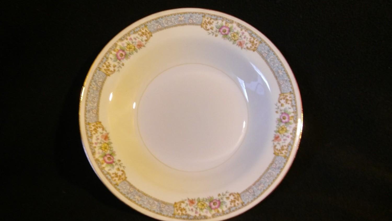 Homer Laughlin, Rim Soup Bowl, Eggshell Nautilus, Blue Dawn Pattern N1691