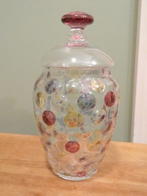Bohemian Czech Crystal Optic Coin Dot Vase