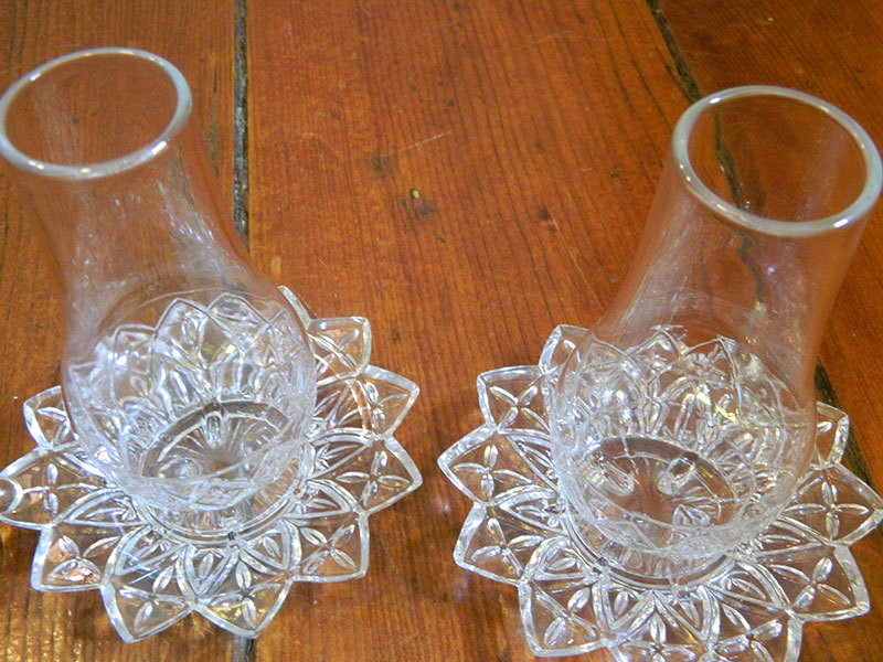 Pair of two Vintage Federal Glass Petal Pattern Candle Holder with Base and Shade