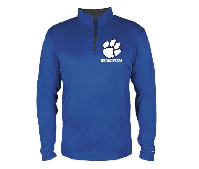 Badger Men's LS 1/4 Zip w/embroidered logo