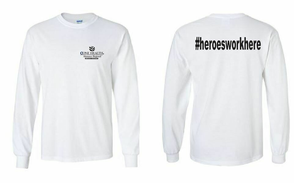 #heroesworkhere LS Tee with Front Left Chest and Back Print